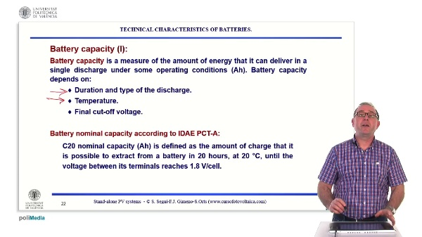 Off-grid photovoltaic installations. Technical characteristics of batteries: capacity