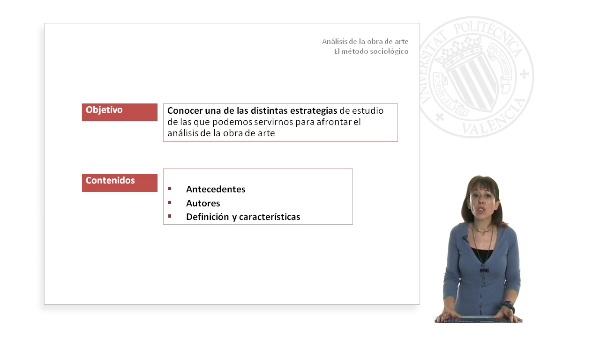 ANÁLISIS DE LA OBRA DE ARTE. Método sociológico