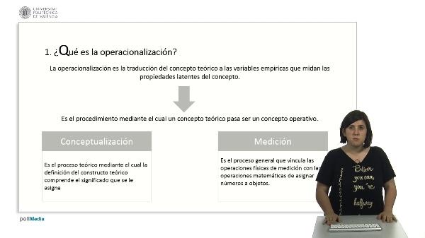 La operacionalización de conceptos.