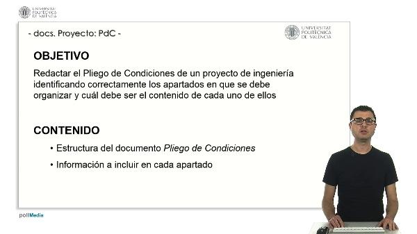 Documentos de un proyecto de ingeniería: EL PLIEGO DE CONDICIONES.