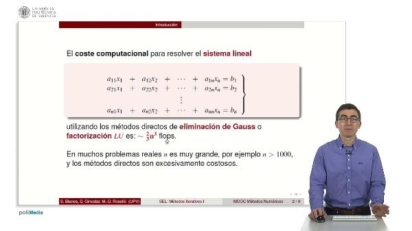 Resolución de sistemas lineales: Métodos iterativos I