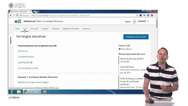 La interfaz de curso de edX