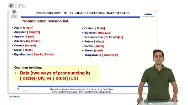 M3.U2.5. Charge regulators: characteristics. English Grammar / spelling revision