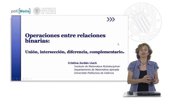 Operaciones entre relaciones binarias: Unión, intersección, diferencia, complementario