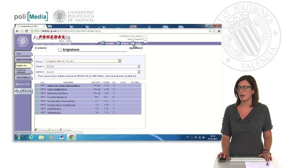 Automatícula Grado: Matriculación de asignaturas