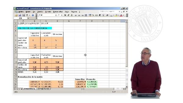 Cálculo de la consistencia y el vector propio