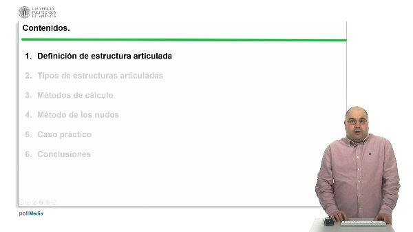 Estructuras articuladas: Cálculo de esfuerzos mediante le método de los nudos.