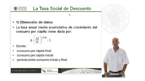 Cálculo de la tasa de descuento social. Tasa de crecimiento del consumo pér capita