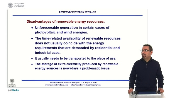 Problems with renewable energy resources: energy storage