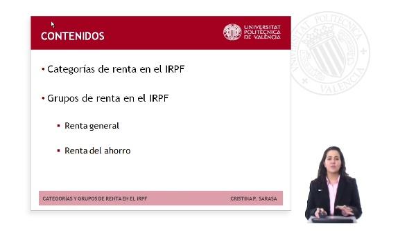 CATEGORÍAS Y GRUPOS DE RENTA EN EL IMPUESTO SOBRE LA RENTA DE LAS PERSONAS FÍSICAS