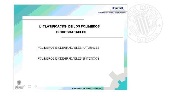Clasificación de los polímeros biodegradables
