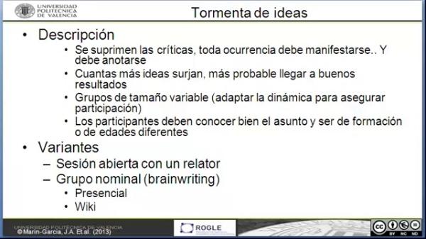 Tecnicas para la mejora de procesos: Tormenta de ideas