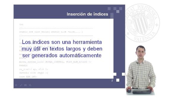 Procesamiento de textos con Open Office Writer: creación de índices automáticos