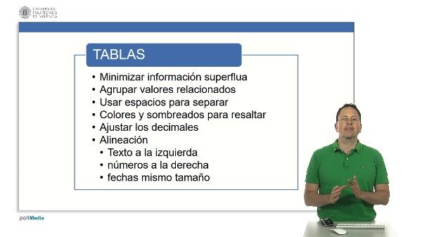 Excel. Paneles de información. Recomendaciones para tablas