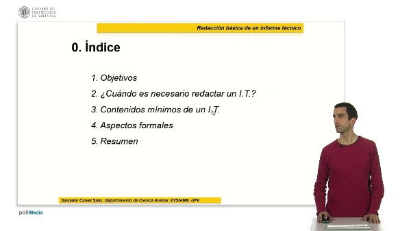 Redacción básica de un informe técnico (I.T.)