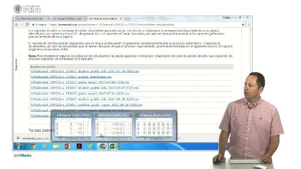 EdX. Panel de instructor. Descarga de datos. CSV con datos de distribución de respuestas por problema.
