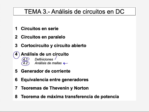 Teoría de Circuitos 1. Lección 3. 4.2.a Análisis de mallas ejercicio paso 1