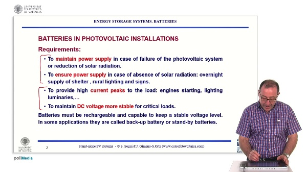 Off-grid photovoltaic installations. Energy-storage systems: batteries