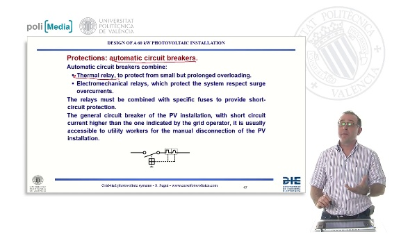 Design of a 60kW photovoltaic installation: protections