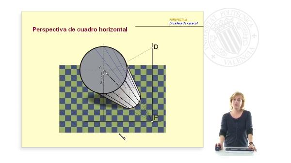 Perspectiva cónica de cuadro horizontal: Escalera de caracol