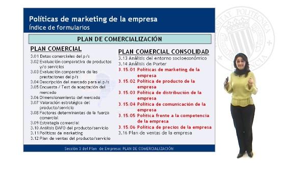 Esquema de Políticas de Marketing de la empresa