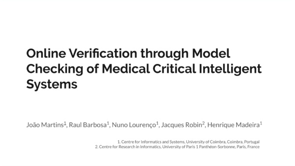 Online Verification through Model Checking of Medical Critical Intelligent Systems