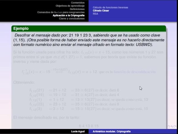 Aritmética modular parte 4: ejemplo de decodificación usando el cifrado César