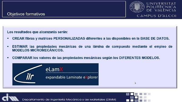 Estimación de las propiedades mecánicas de una lámina de material compuesto mediante modelos micromecánicos con eLamX