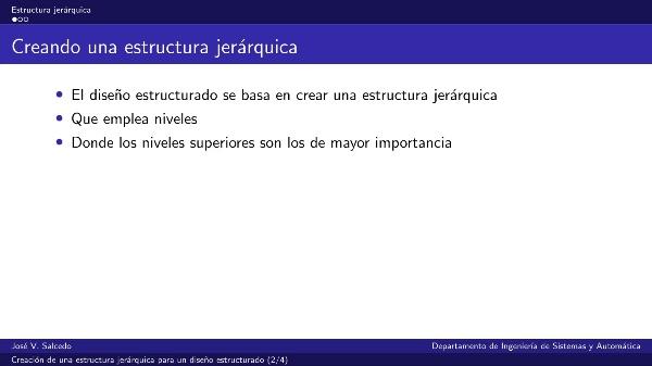 Creación de una estructura jerárquica para un diseño estructurado