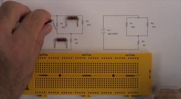 Montaje de circuito resistivo mixto (serie-paralelo)