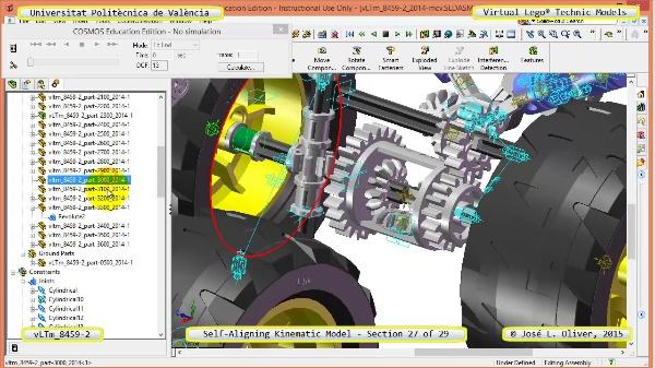 Simulación Cinemática Lego Technic 8459-2 con Cosmos Motion ¿ 27 de 29