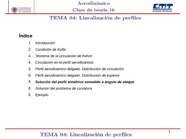Aerodinámica I, Clase 16