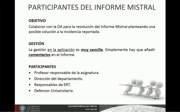 Mistral. Gestión de Informes (Participantes)