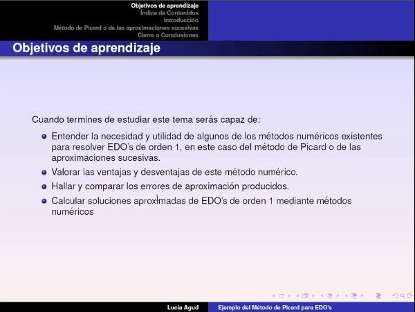 Aplicación del método de Picard para la resolución de un PVI de EDO's de orden 1