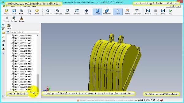 Creación Virtual Modelo Lego Technic 8862-1 ¿ Pieza 1 ¿ 01 de 44