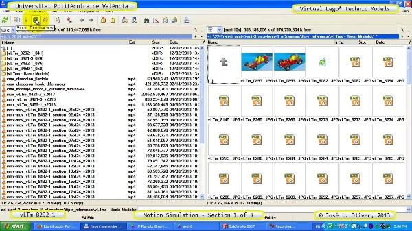 Simulación Dinámica Lego Technic 8292-1 sobre Base 1 de 3