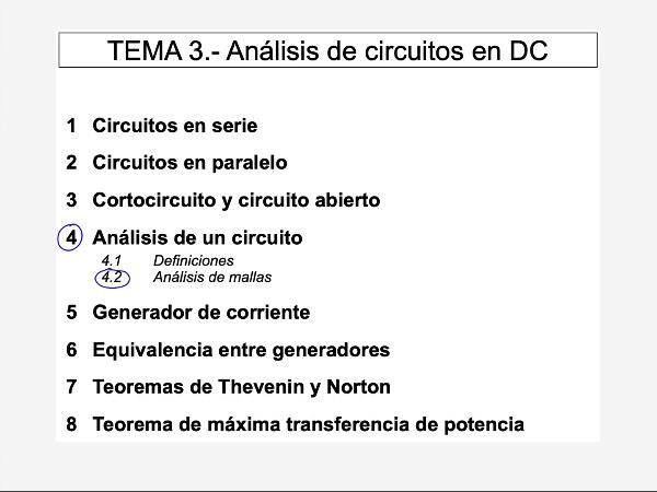 Teoría de Circuitos: 3.4.2.d.- Análisis de mallas. Escribir sistema de ecuaciones