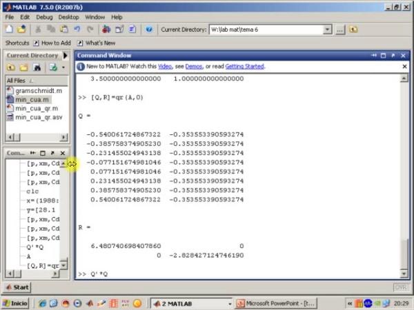 Tema 6. Aproximación mínimo-cuadrática. Ejemplo de min_cua con Gram-Schmidt. QR en Matlab.