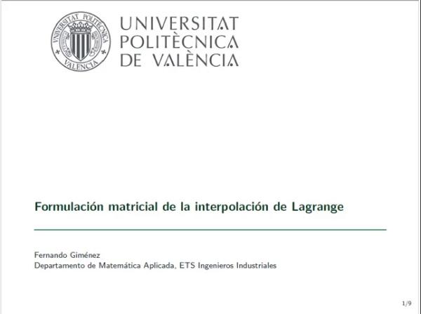 FORMULACIÓN MATRICIAL DE LA INTERPOLACIÓN DE LAGRANGE