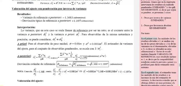 Ajuste de observaciones. Mínimos cuadrados. Ecuaciones de condición. 07_Estimador del ajuste. Valoración