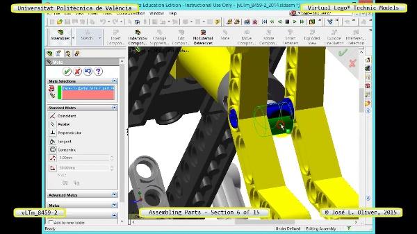 Montaje Modelo Lego Technic 8459-2 con Solidworks ¿ 06 de 15