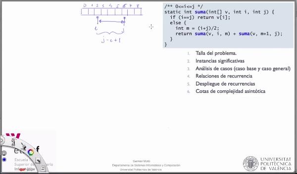 [PRG-OA] Complejidad Temporal Asintótica del Algoritmo Recursivo de Cálculo de la Suma de los Elementos de un Array