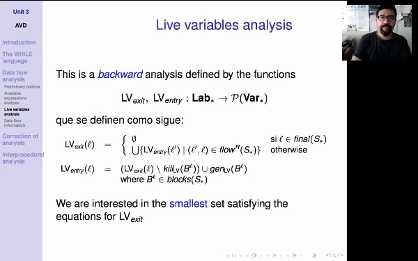 AVD. Unit 3. Live variables analysis (3)