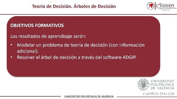 Resolución de un Árbol de Decisión con Información Adicional con ADGIP
