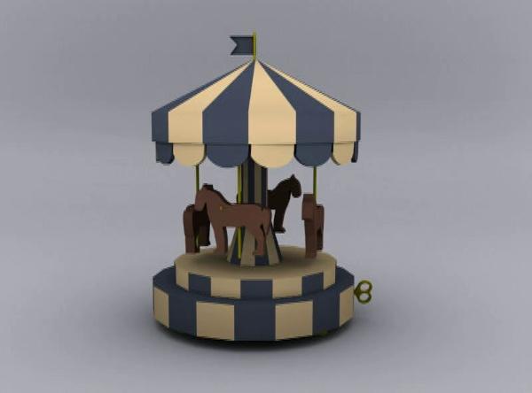 Carrusel musical modelado en 3D Max Studio