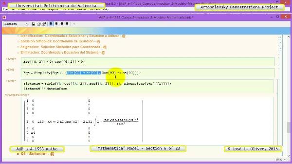 Solución Cinemática Simbólica a-4-1553 con Mathematica - 06 de 23 - Modelo Mathematica