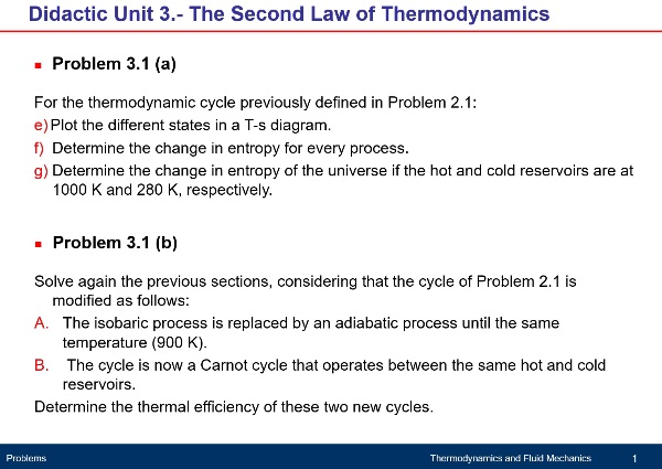 Unit 3. Second Law of Thermodynamics. Problem 3.1