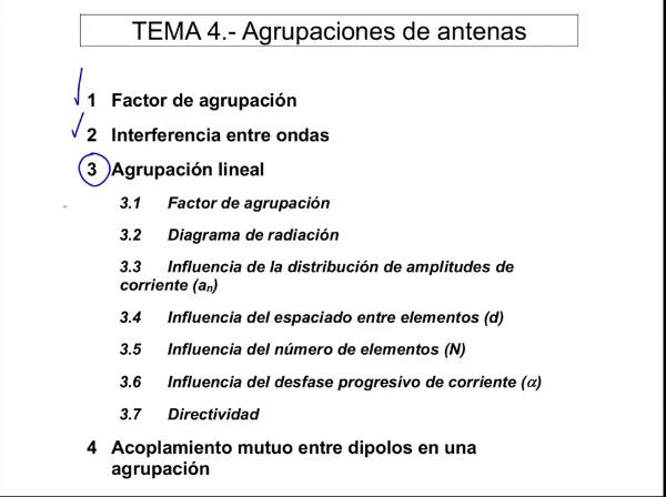 4.3.5.- Agrupación Lineal: Número de antenas
