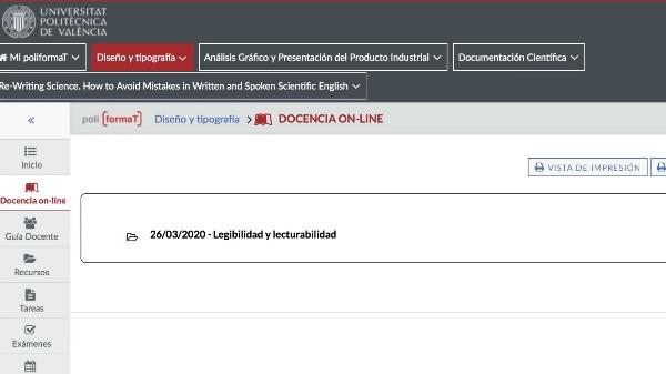 Docencia on-line Diseño y Tipografia