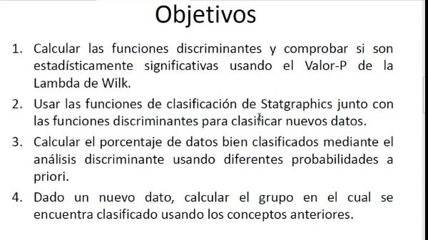 Clasificación mediante análisis discriminante con Statgraphics